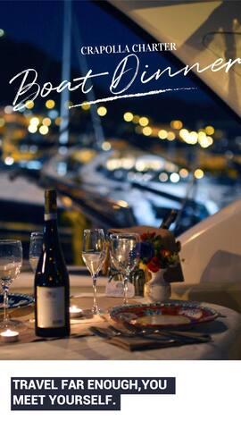 Positano  romantic dinner on boat