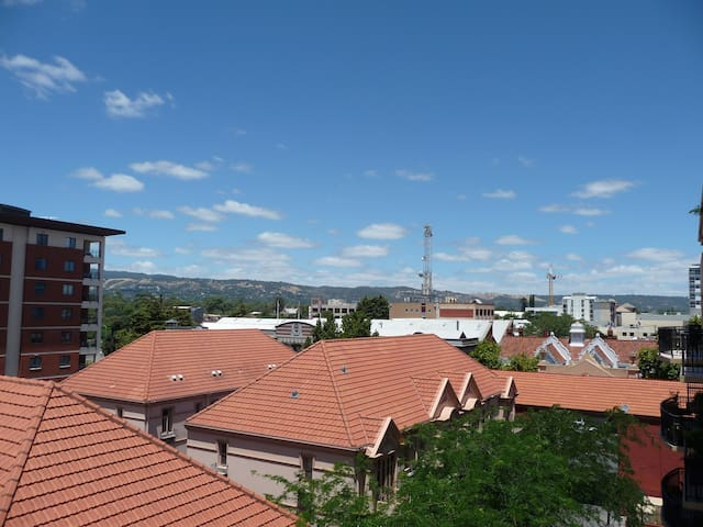That's the view from the balcony towards the Adelaide Hills