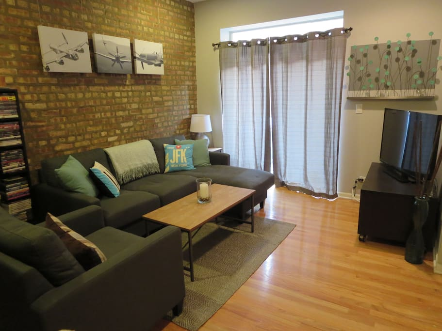 Come sit (or lay!) in this comfy living room.  Pop in a DVD or watch a movie on Netflix/Hulu!