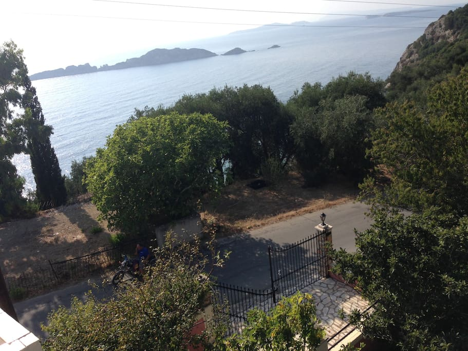 View of the Ionian Sea and neighboring Island of Gravia and Mathraki