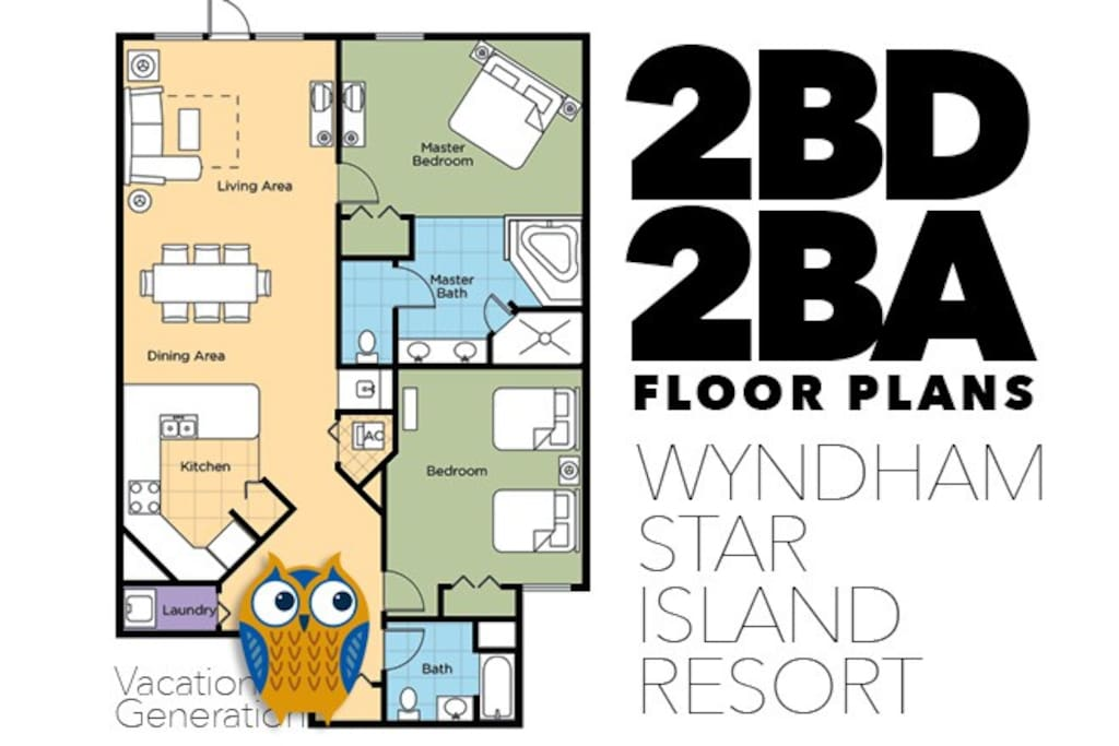 Floor plans and layout for 2 bedroom condo at Wyndham Star Island
