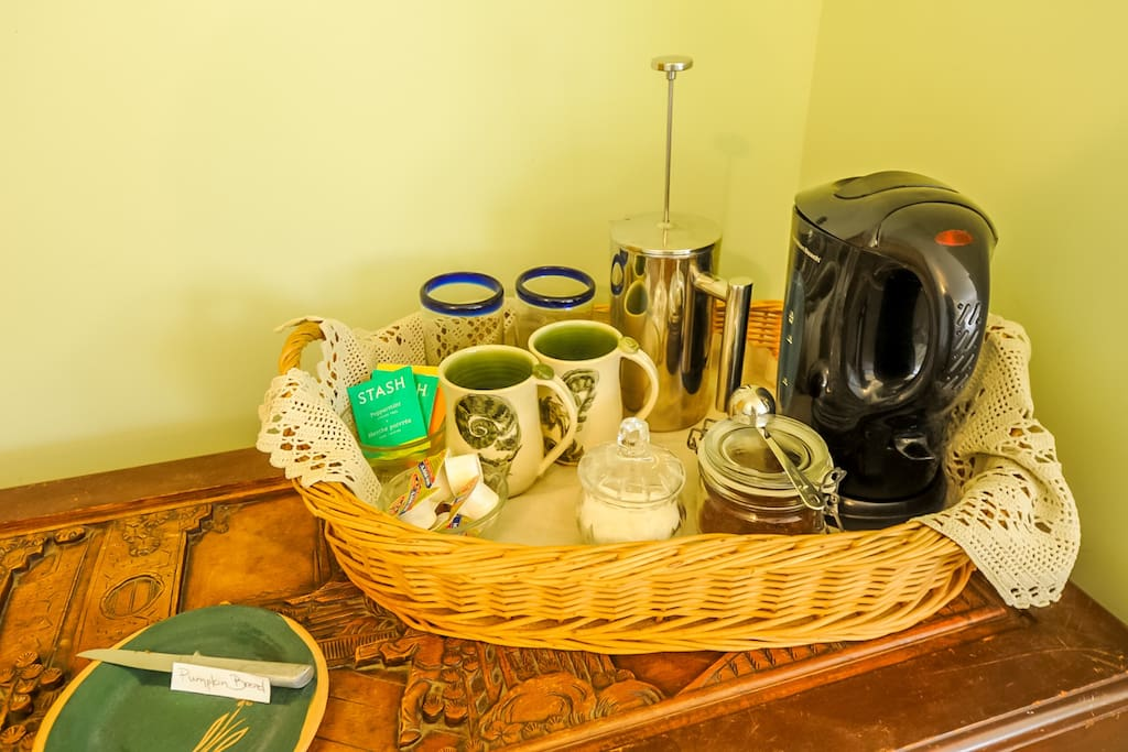 Coffee and tea service, accompanied by a light snack, included with stay.