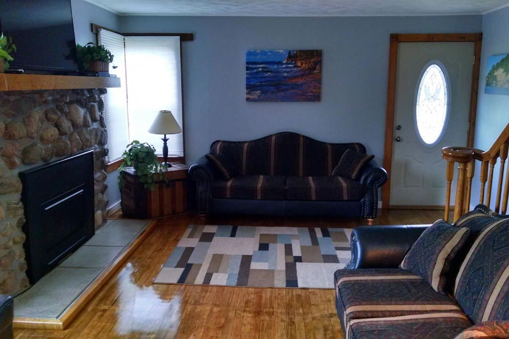 Living room with gas insert fireplace and beautiful hardwood flooring.