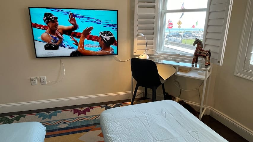 Watch TV and the ocean in the back den/bedroom, with 2 single pull-outs.