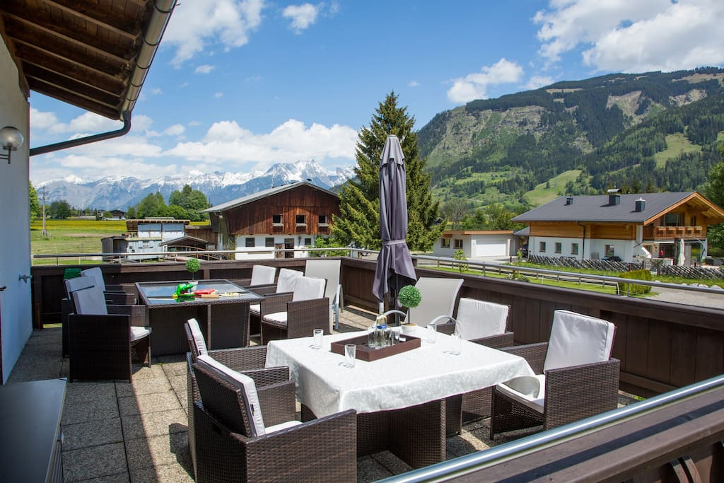 The sun terrace with stunning mountain views