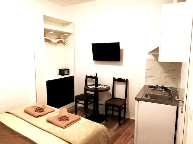 Fully equipped studio apartment with kitchenette and modern bathroom