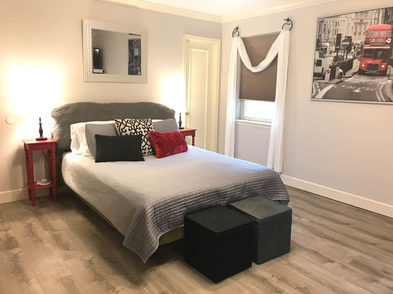 New comfortable Queen mattress and bedding.