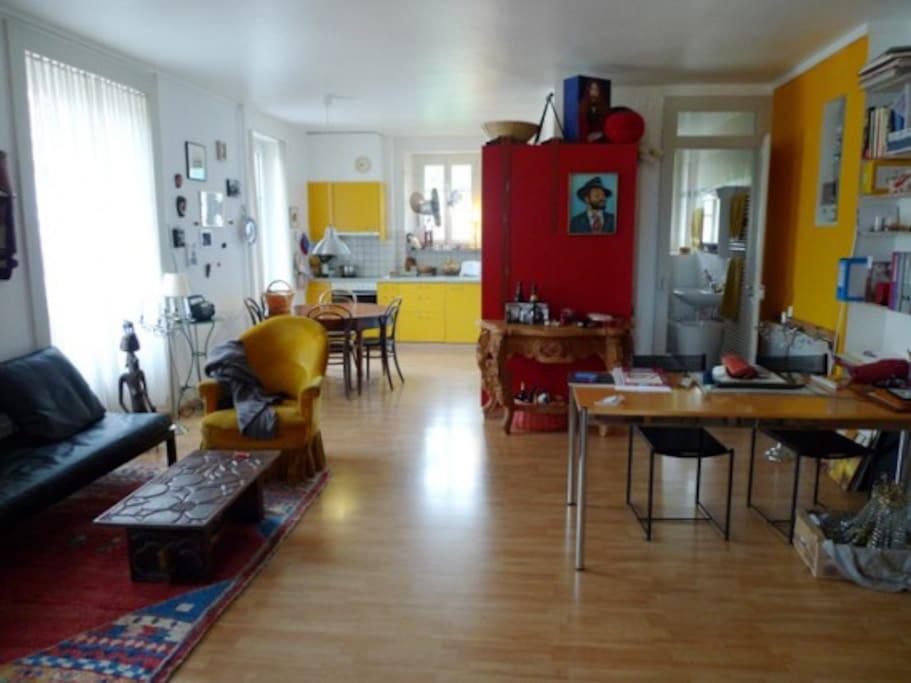 Salon-cuisine-salle à manger spacieuse et confortable