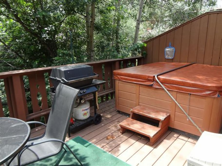 Private hot tub, gas grill, outdoor table