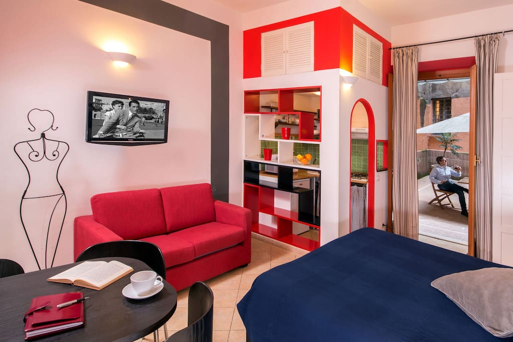 The Spacious bedroom, with the kitchenette at the angle