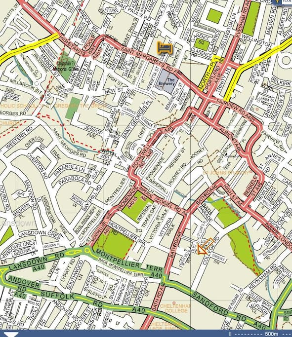 Town centre map, showing the location 5m from centre