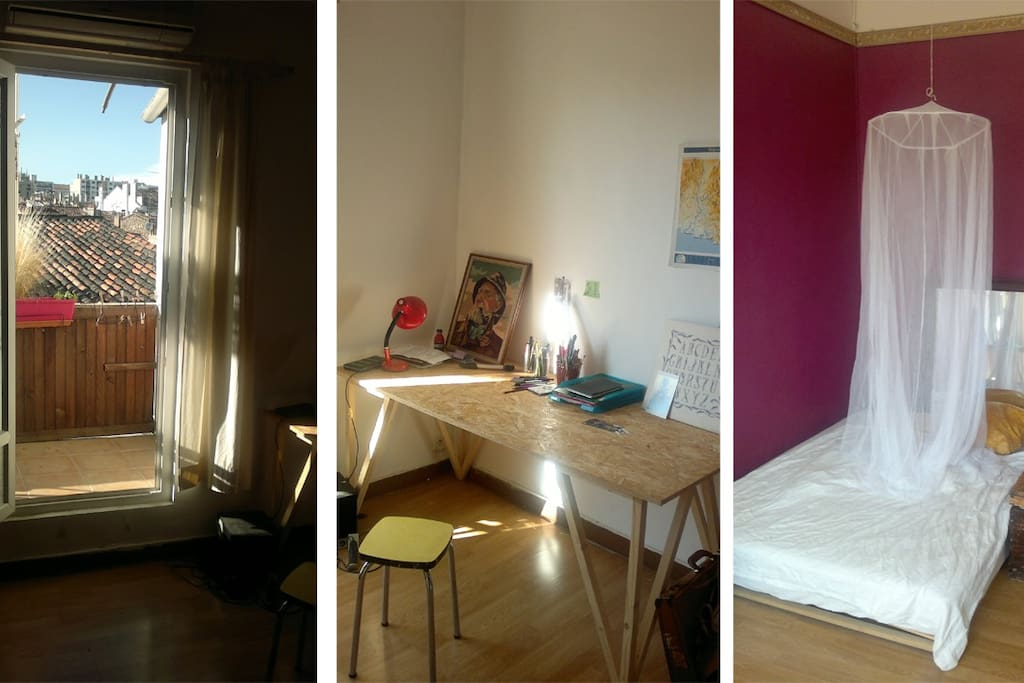 Big bedroom with designer table, double bed and easy access to the balcony.