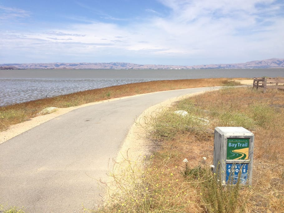 Bay Trail along the edge of the Bay.  ( ~0.5 miles away)