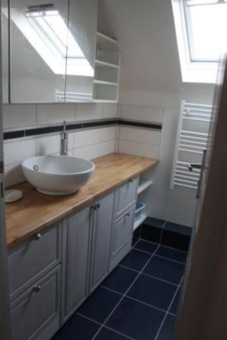Salle d'eau avec WC petite mais pratique.
