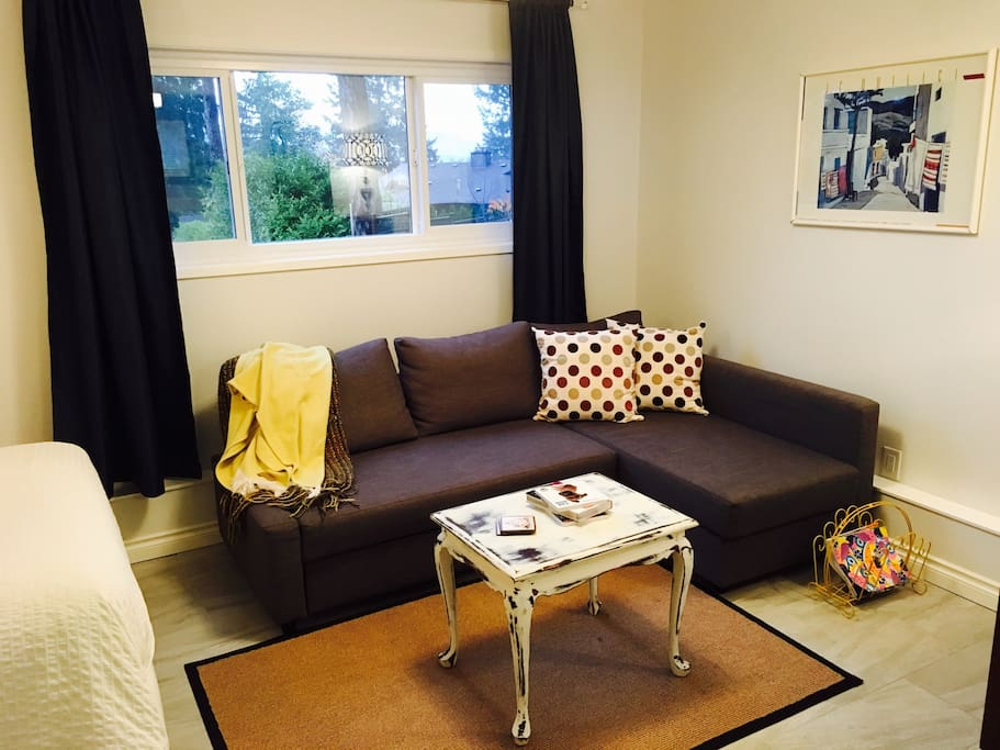 Seating area, shared space with the bed. The sectional easily makes an extra bed!