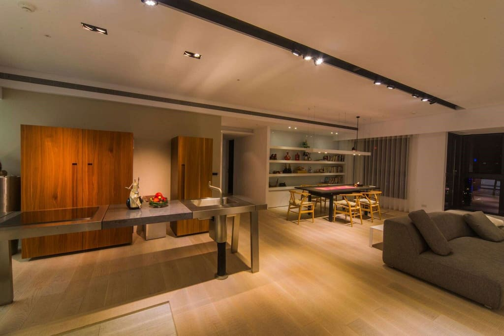 The living and dining space
