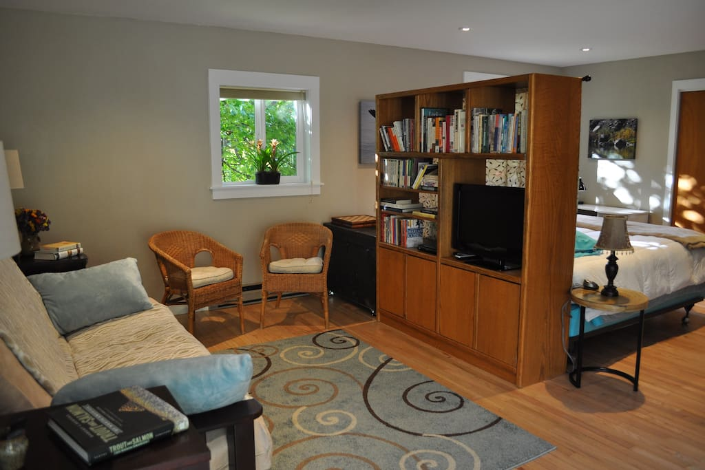 Sitting area with television/DVD player and cable.