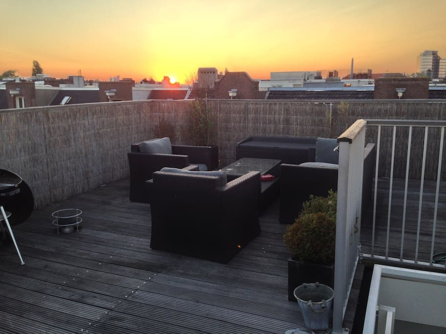 Romantic sunset view from the roof terrace