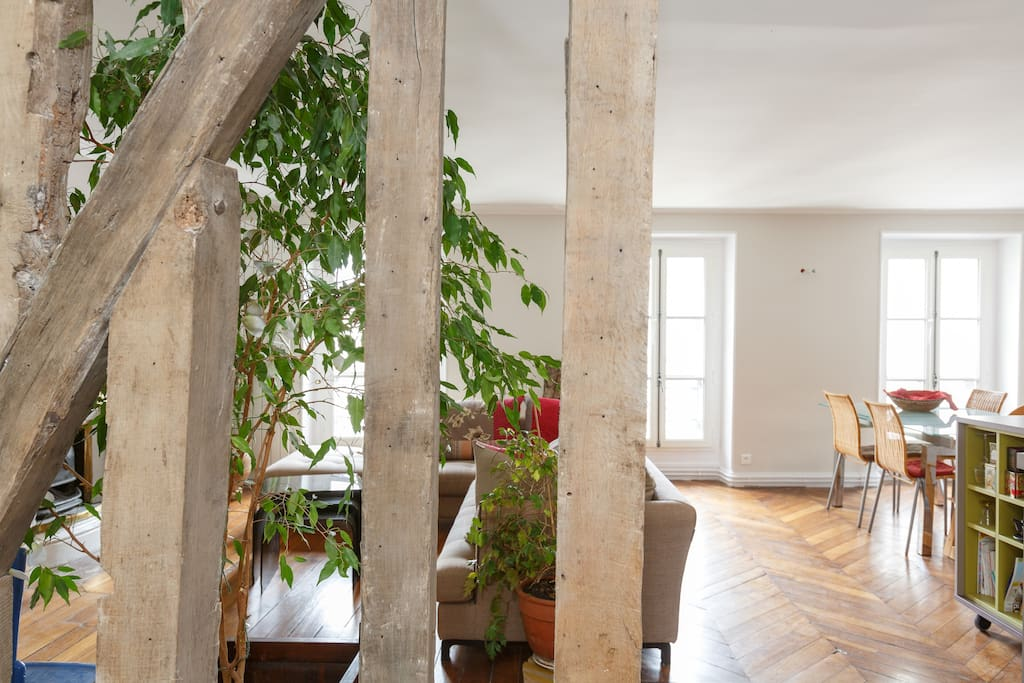 Old wooden exposed beams give a particular charm to the flat