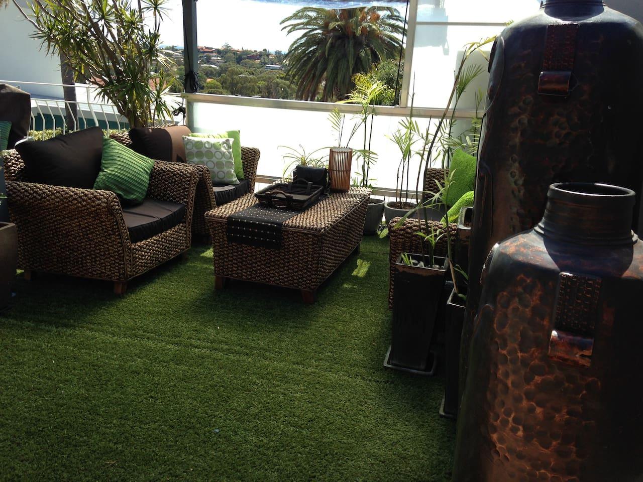 Gazebo Room, wonderful vista, Ocean views patio blinds down in winter.
