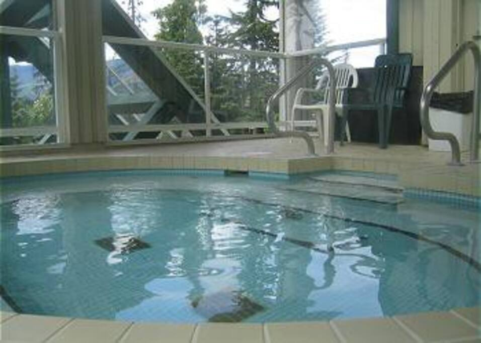 Enjoy the great mountain view from the big hot tub to relax after all day of exploring.