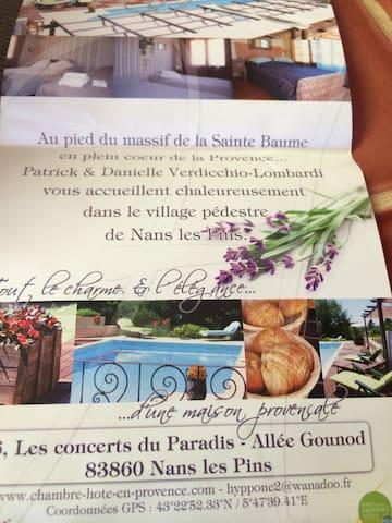 Chambres Tournesol- Lavande - Nans-les-Pins - Casa
