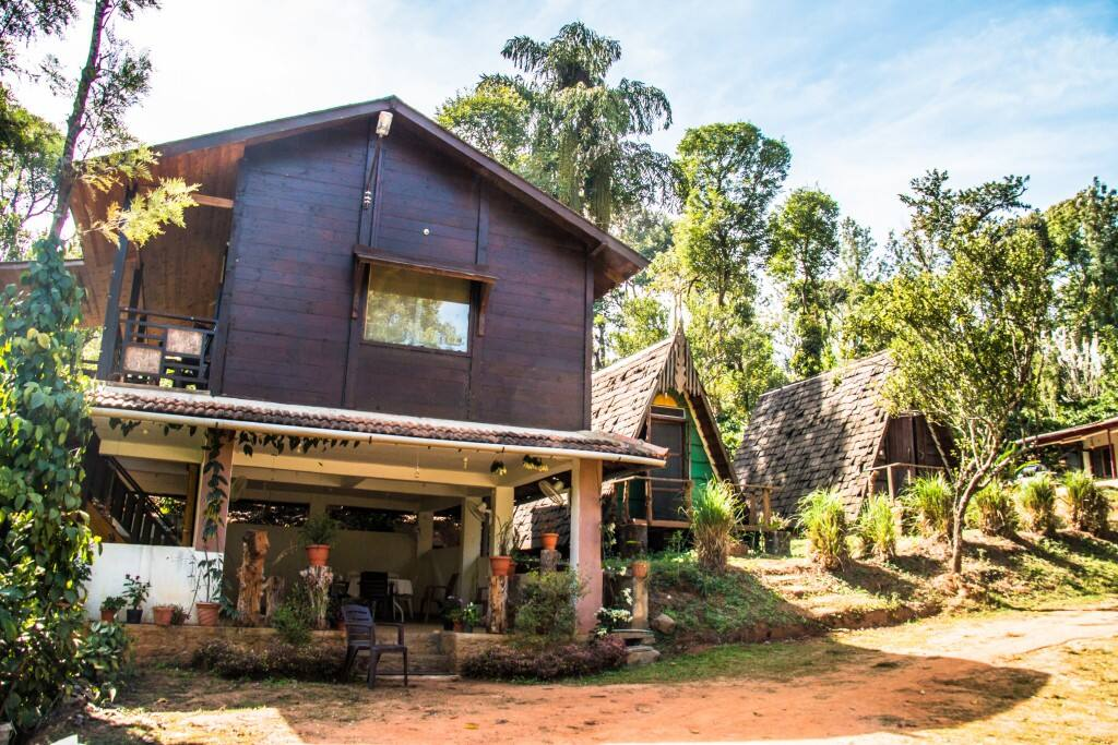 A wooden chalet in the plantations of Manchalli village