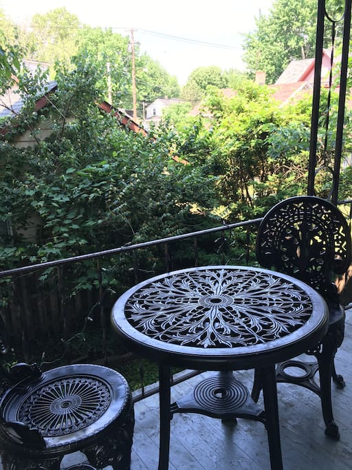 Small Patio on backyard deck to view the streets of Tremont.