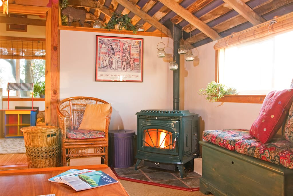 Everyone loves the cozy, warm pellet stove when it's chilly out.