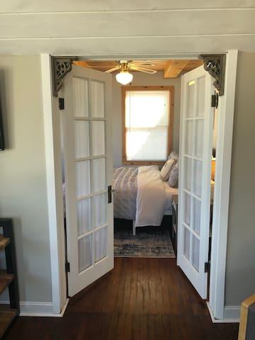 Elegant framed entrance to the master bedroom.