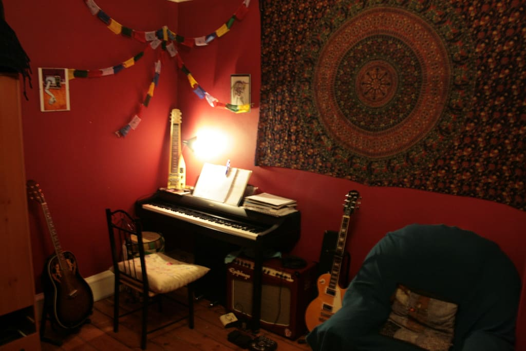 The music corner in the bedroom. Feel free to play!