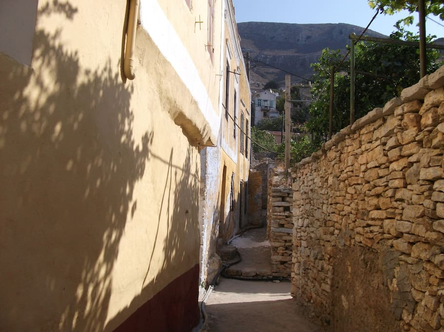 ancient Symi village with stone roads