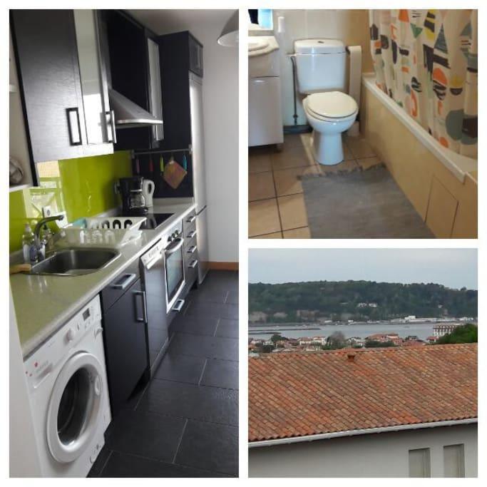 cuisine /salle de bain/vue sur la baie