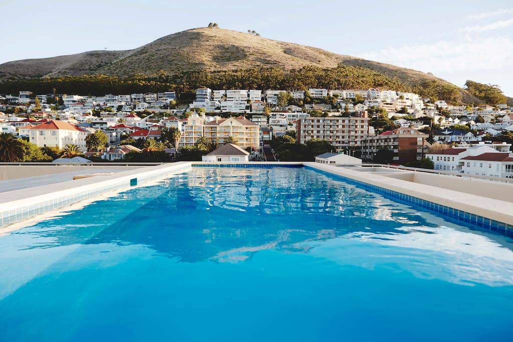 Rooftop pool deck with stunning view of Signal Hill