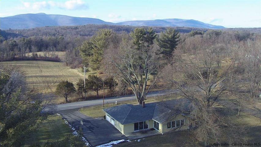 Aerial view. Catskill Mountains across the street.