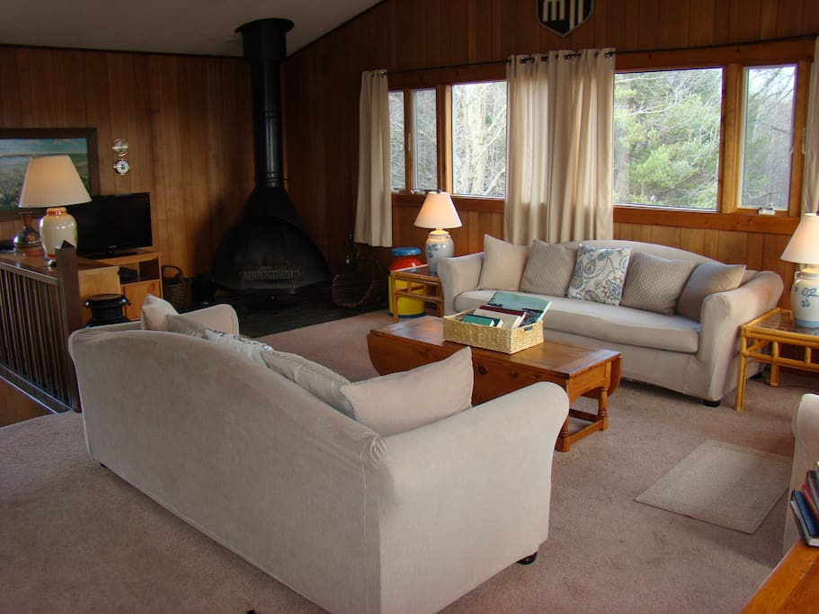 open living area with fireplace
