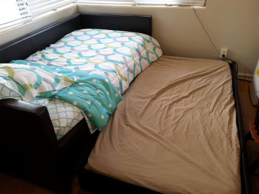 Leather Single Bed with Single Trundle underneath