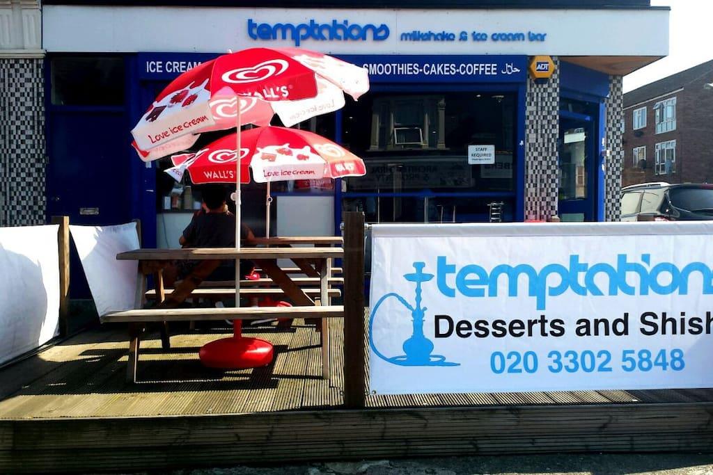The ice cream and shisha shop just cross the road