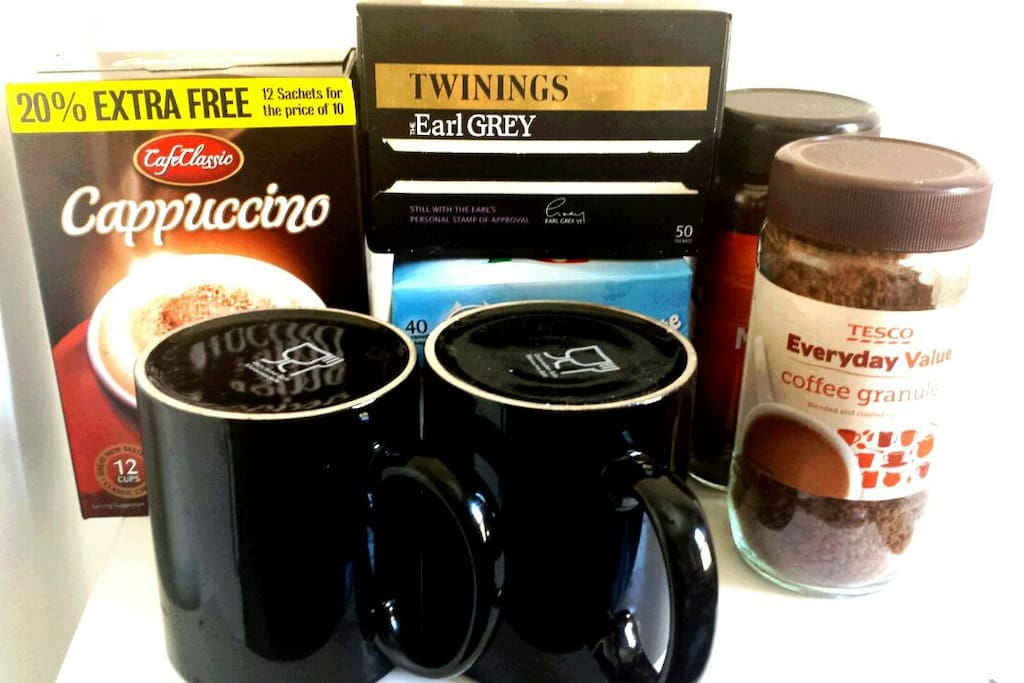 Help yourself section including cappuccino coffee tea herbal tea sugar