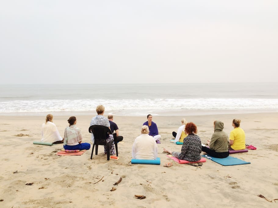 Morning pranayama or meditation on the beach? Why not?