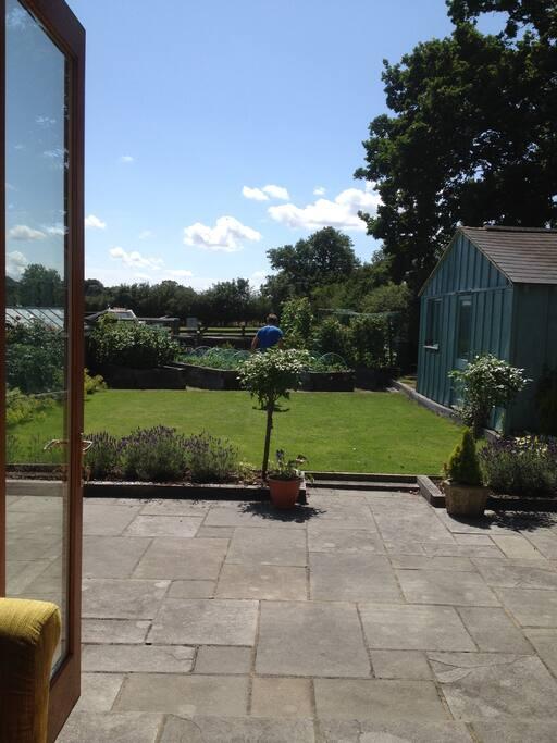 Upstairs bedroom has view over garden & fields beyond