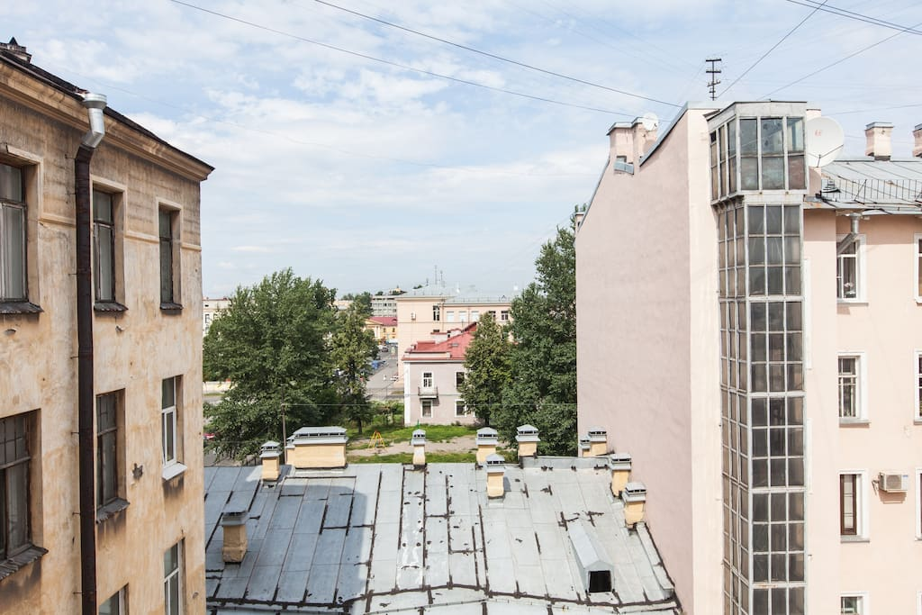 Classic Saint-Petersburg view with a numerous rooftops.