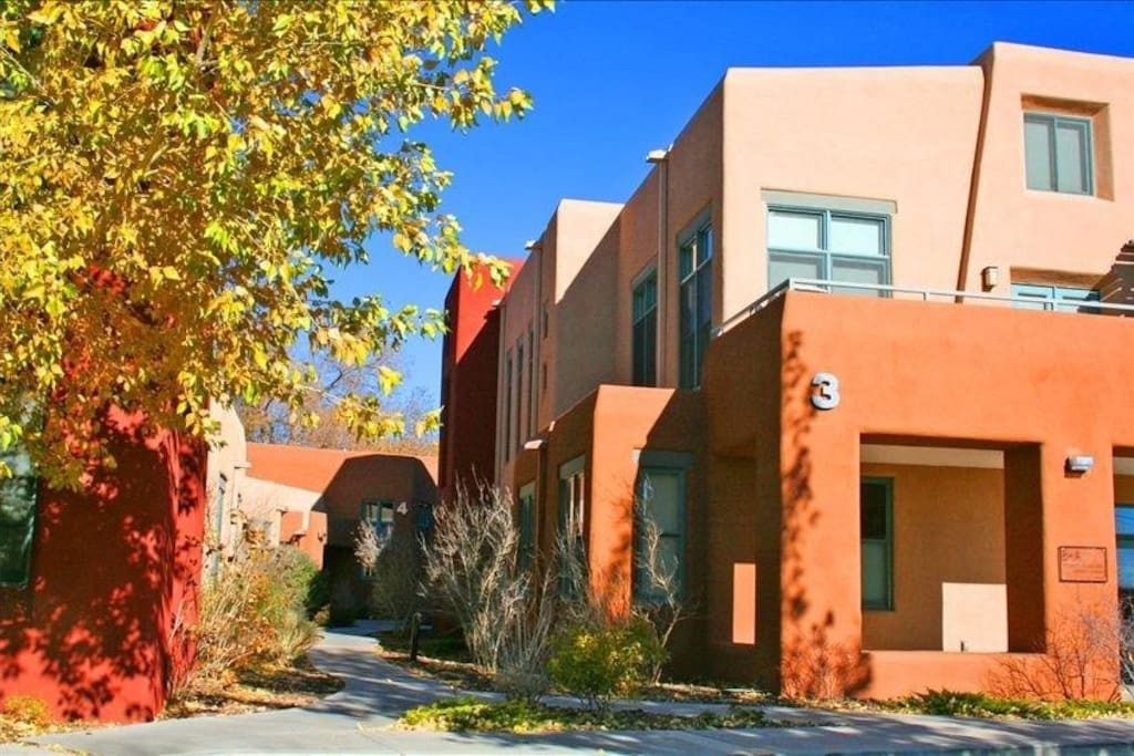 Upscale, Luxury Loft Sleeps 2-5.    2 QUEEN bedrooms, 1 extra futon and 1 extra daybed.   Walking distance to Trader Joe's, Whole Foods, Maria's Northern NM Cuisine, La Choza, Railyard, Railrunner, Dulce Bakery and more!!!   3 Minutes to Plaza. 7-10 Minutes to Santa Fe Opera.  15 Minutes to Slopes!