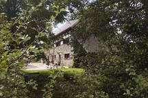 Blick von den Weiden in den gepflasterten Hof und zum Hauseingang