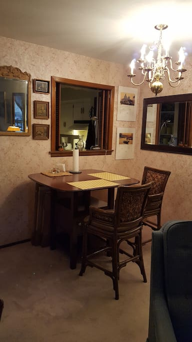 Dining Area with Pub Table & view into Kitchen: 2 Bar stools w backs & 3 without backs