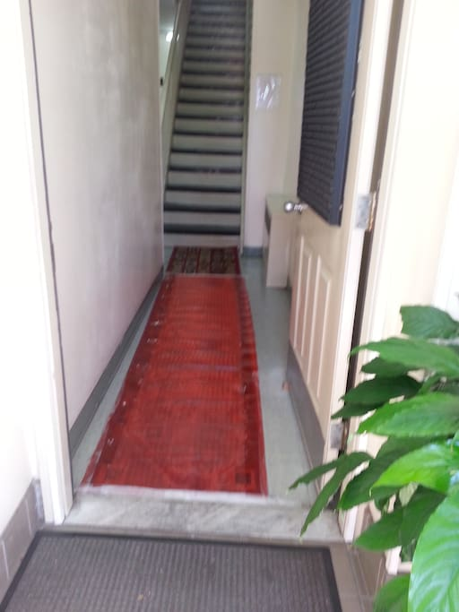 Entrance to apartment, only one flight of stairs up.
