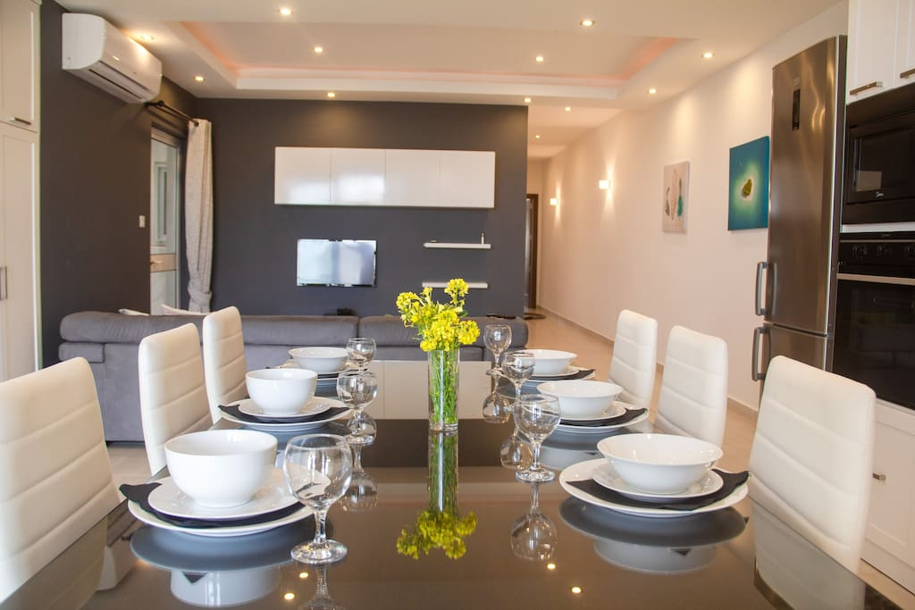 The lovely dining table with room for six