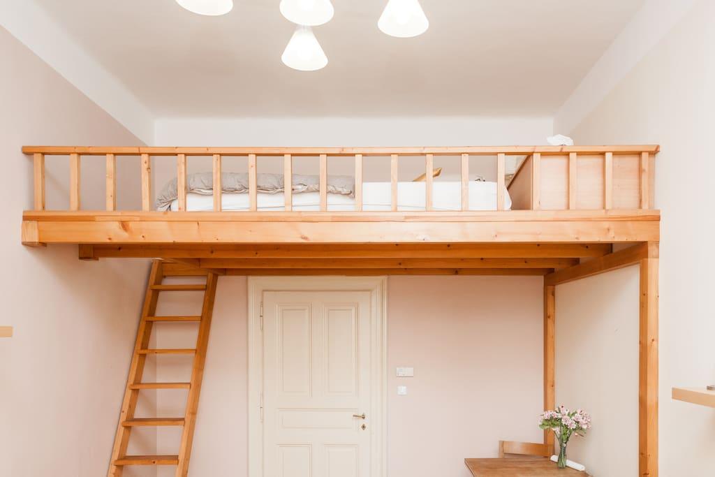 Wooden sleeping loft.