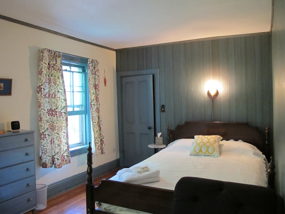Our guest room with queen size bed.  We call this the Blue Room.
