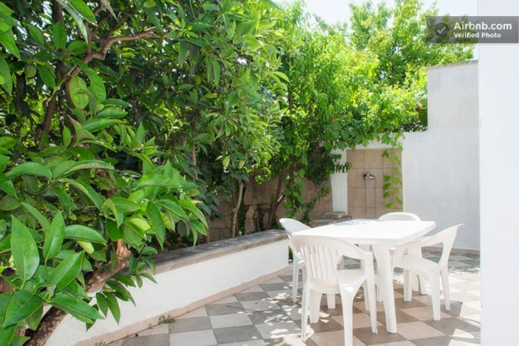Giardino esterno attrezzato di tavolo, sedie e barbecue